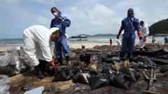 OIL SPILL DISASTER BLACK SLUDGE Stock Footage
