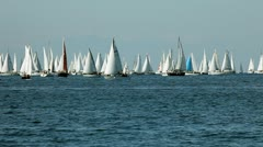 Boats getting ready for competition in the sea Stock Footage