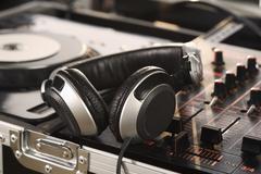 Closeup of DJ equipment - stock photo