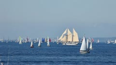 Competition boats in the sea Stock Footage