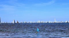 A lot of boats in the sea Stock Footage