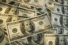 Large group of American one hundred dollar bills Stock Photos