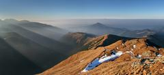 sunbeam in mountain west hight tatra. rohace - stock photo