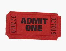 Studio shot of Admit One ticket - stock photo