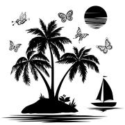 island with palm, ship, butterflies, silhouettes - stock illustration