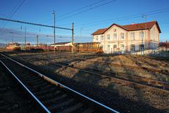 An old train station against a deep blue sky Stock Photos