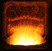 fire in furnace. - stock photo