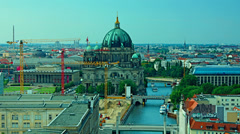 Berlin Skyline City Time lapse, aerial view Stock Footage