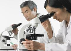 Man and woman in lab coats using microscopes Stock Photos