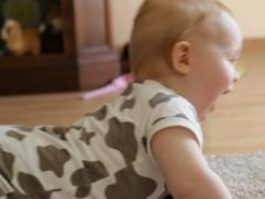 Adorable boy crawls on all fours, slow motion NTSC Stock Footage