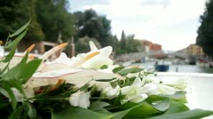 Floating bouquet,  Venice,  Italy Stock Footage