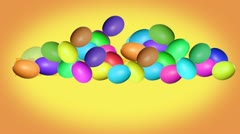 Inscription Happy Easter with animated colorful eggs Stock Footage