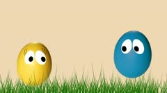 Animated couple eggs for Easter Stock Footage