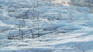 Stock Video Footage of Aerial view of Ice Glacier and crevasses, Arctic Region
