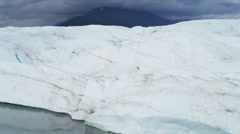 Aerial view Knik Glacier constantly moving large ice shelf Alaska, USA Stock Footage