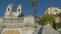 The Spanish Steps in Rome 2 (slomo dolly) Stock Footage
