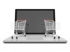 Stock Illustration of laptop and shopping carts