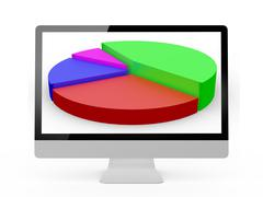 monitor and pie chart - stock illustration