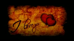 Valentine's day I love you inscription with beating heart Stock Footage