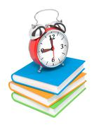 Alarm Clock on Pile of Books. Stock Illustration