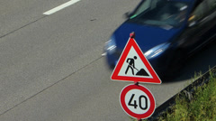 Traffic sign of Roadworks n Speed Limit 40kmh Stock Footage