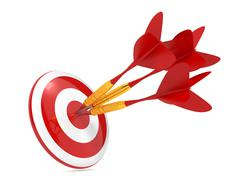 Dart Hitting a Target, Isolated On White. - stock illustration