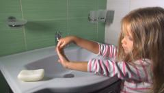 Child, Little Girl, Washing Hands with Soap and Water in Bathroom Sink, Children Stock Footage