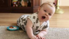 Portrait of little yawning boy, slow motion HD Stock Footage