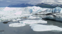 Aerial view Knik Glacier icebergs Knik River Alaska, USA Stock Footage