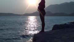 Pregnant belly at the sunset Stock Footage
