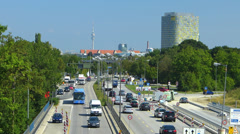 Germany Munich North Traffic overlook Olympia TV Tower n ADAC Stock Footage