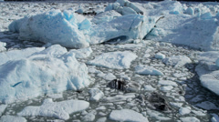 Aerial view of pure blue ice flows from Knik Glacier, Alaska, USA Stock Footage