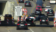 Stock Video Footage of Rush-hour Commute Traffic in Roadworks construction urban Europe German city