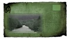 Video card with moving picture of river in forest Stock Footage
