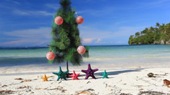 New year tree on beach - stock footage