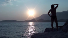 Silhouette of Pregnant turning Stock Footage