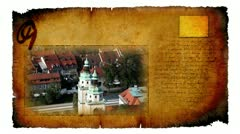 Video card with moving picture of church in Ljubljana city in Slovenia Stock Footage