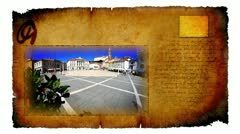 Animated video card with picture of main market in Piran in Slovenia Stock Footage