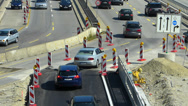 Stock Video Footage of Rush-hour Commute Traffic Roadworks construction urban Europe German city