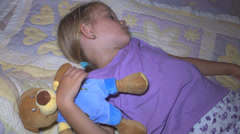 Sleeping Child, Little Girl with Teddy Bear Toy Resting in Bedroom, Children Stock Footage