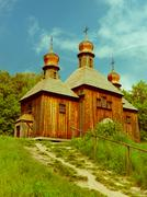 vintage wooden church - stock photo