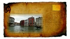 Animated video card of town on the see, Venice Stock Footage