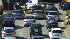 Stock Video Footage of Slow Motion Rush-hour Commute Traffic Roadworks construction urban Europe German