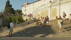 Top of Spanish steps in Rome 1 (slomo dolly) Stock Footage
