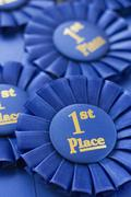 Close up of First Place ribbons Stock Photos