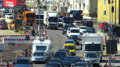 Stock Video Footage of Rush-hour Commute Traffic Roadworks construction urban Germany Munich Middle
