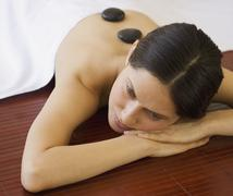 Woman receiving spa treatment Stock Photos