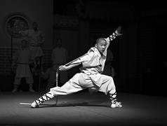 Shaolin monk performing Kung Fu - stock photo