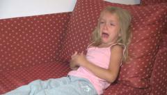 Crying Little Girl, Kid Scolding Father, Sad, Angry, Unhappy Child with Tears Stock Footage