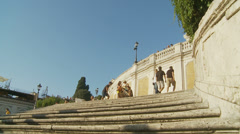 Top of Spanish steps in Rome 3 (slomo dolly) Stock Footage